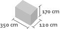 350cm x 120cm x 170cm(h)