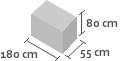 180cm x 55cm x 80cm(h)