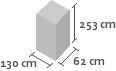 130cm x 62cm x 253cm(h)