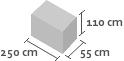 250cm x 55cm x 110cm(h)