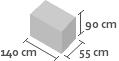 140cm x 55cm x 90cm(h)