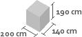 200cm x 140cm x 190cm(h)