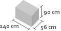 140cm x 56cm x 90cm(h)